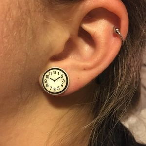 Vintage Clock Stud Earrings